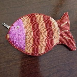 Beaded fish coin purse